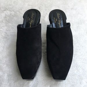 Robert Clergerie Square Toe Black Suede Platforms